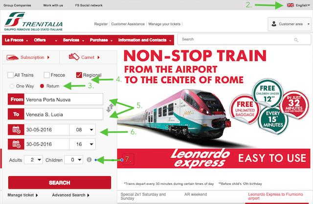 купить билеты на поезд в италии