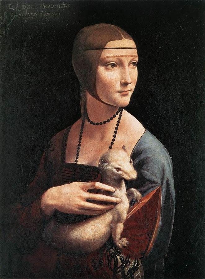 """Картина Леонардо да Винчи """"Дама с горностаем"""""""