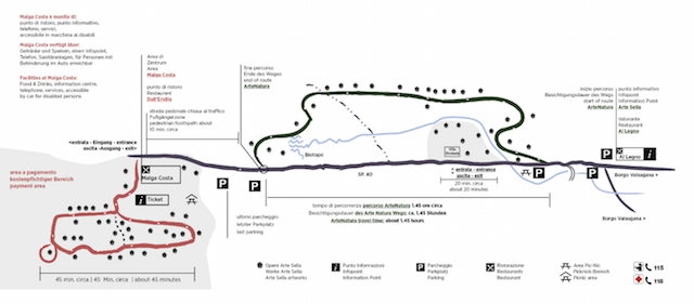 на фото карта музея современного искусства в Трентино Arte Sella