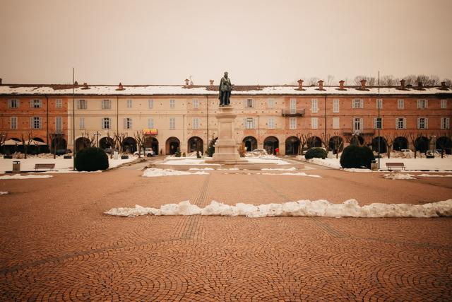 площадь в городе Викофорте в Пьемонте Италия